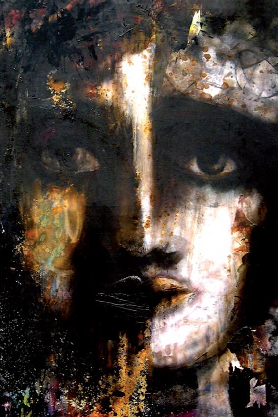 Zenobia part cm 150×150 olio e gommalacca si tela